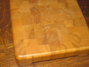 """Vintage60's Heavy Solid Table Top Chopping Block11""""x11""""x 3 1/4"""""""