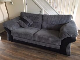 Nearly new 3 seater sofa, chair and matching footstool