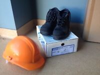 Hard hat and safety boots.