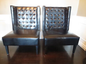 Pair of Black Modern Wing Chairs