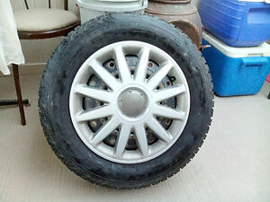 Studded tires on rims and caps