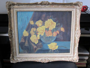 "Antique Oil Painting 1892 on canvas with extra frame 20"" x 24"""