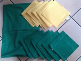 New IKEA green table cloth and 12 New napkins all cotton