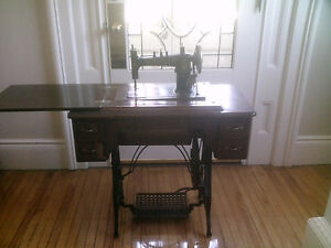 Antique Treadle Sewing Machine-Ironing Board-Double Headboard