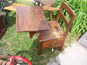 Antique one Room School House Student Chair Desk w side drawer