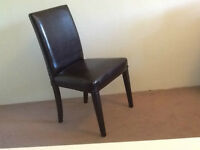 IKEA 2 Brown leather dining chairs