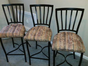 3 Black Wrought Iron Counter Stools