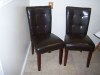 Two Esspresso Parson Dining Chairs