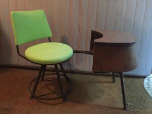 Retro mid-century telephone table & swivel seat - $65