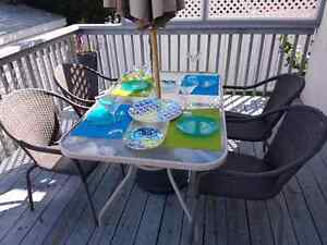 Plastic dishes / patio dishes, martini glasses and placemats