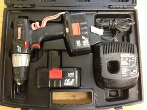3 Cordless Drills + 4 Batteries + 3 Chargers