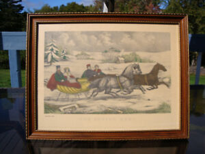 Antique Lithograph Print Currie and Ives Date 1940's Sleigh Race