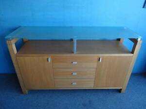 SIDEBOARD TV STAND 3 METAL SLIDE DRAWERS 2 CABINETS 5 SHELF MAPLE Geebung Brisbane North East Preview