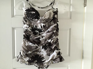 Bathing suit size 10 black/grey/white