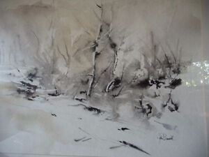 "Winter Abstract W/C by John Bennett RCA, OSA, ""Hint of Spring"" Stratford Kitchener Area image 2"