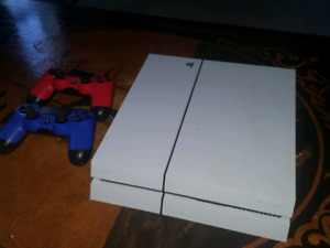 White PS4, (Rarely Used) 2 Controllers (Red+Blue) w. games