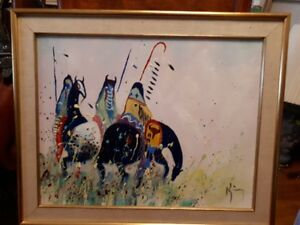 original Navajo oil painting - when leaders confer