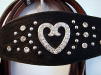 Western Bridle Hearts Horse Show Tack DEAL 3pc Black + TAN