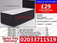 Single Divan Bed Base With mattress. Bagley