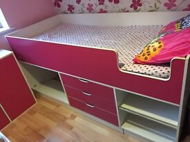 Girls bedroom set. Cabin bed, cupboard, desk and chair.