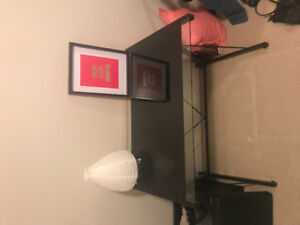 Glass top desk and chair for sale