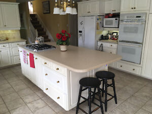White Kitchen for Sale Including Corian Countertops & Appliances