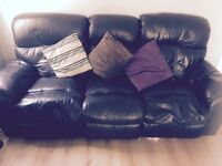 3+2 seater black leather sofas