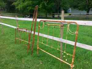 Antique double iron brass bed frame