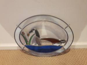 Old Beautiful Vintage Oblong Duck Stained Glass
