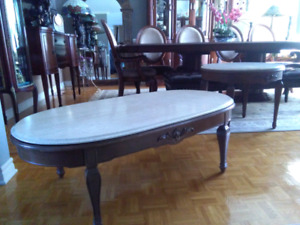 Make offer! Antiqu Travetine marble marbre coffee & end table