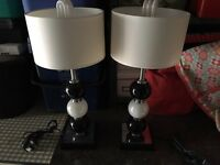 2 Gorgeous Table Lamps - Black & White Glass Ball Stems.