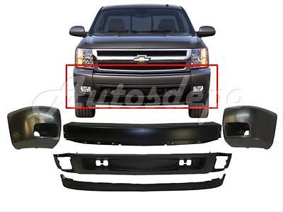 FOR 2007-13 SILVERADO 1500 FRONT BUMPER BLACK FACE BAR END VALANCE W/FOG HOLE 5P