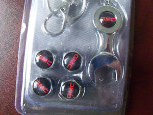 GMC TRUCK TIRE VALVE STEM AIR CAP SET (4) WITH WRENCH
