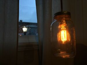 Vintage style mason jar lights & cotton-covered cord