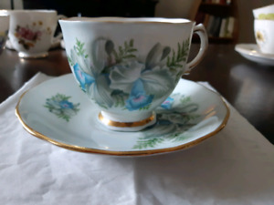 Colclough Bone China Tea Cup and Saucer Made in England Blue