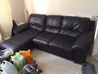 Leather 3 Seater Corner Sofa & Single Armchair