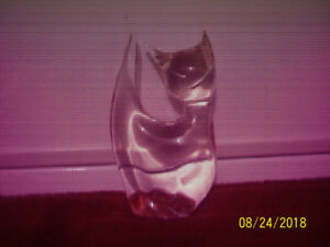 CLEAR  GLASS --   HEAVY  4 INCH  CAT  ORNAMENT