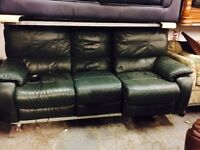 As new green leather electric recliner 3 seater as new