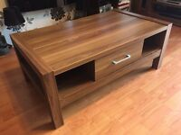 Solid wooden coffee table and matching TV/entertainment unit