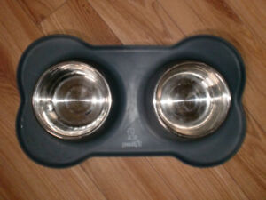 Pecute Dog Bowls Stainless Steel Double Dish Set