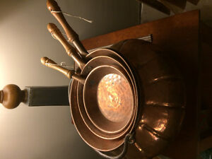 Copper kettle and three pan set