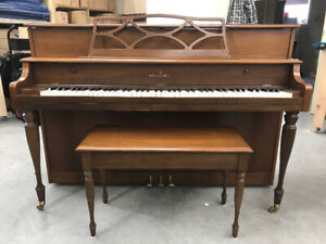 1971 Willis upright piano and matching bench in walnut finish