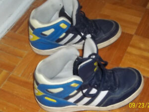 3 pairs of boys size 4 ( 2  Adidas running shoes, 1 System )