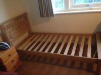 £50 Pine single bed excellent condition with free memory foam mattress