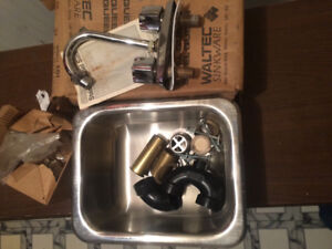 """11""""x13 1/2""""x6"""" Stainless Steel Sink and Taps."""