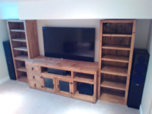 Handcrafted entertainment unit and tables