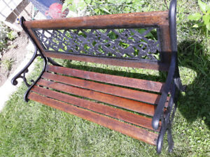 GARDEN BENCH-WROUGHT IRON &WOOD