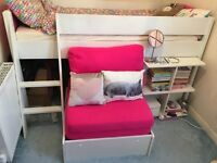 Bedstead Mid Sleeper + Pullout Chair Bed Frame White