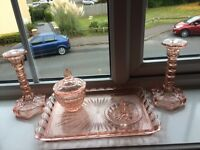 Old rose glass bedroom set