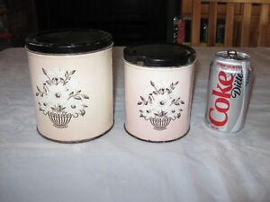 VINTAGE TIN CANNISTERS - 2 SETS - REDUCED!!!!